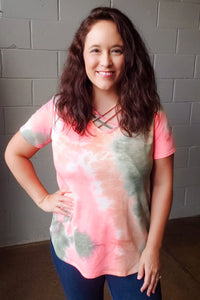 Coral Tie Dye Criss Cross Top