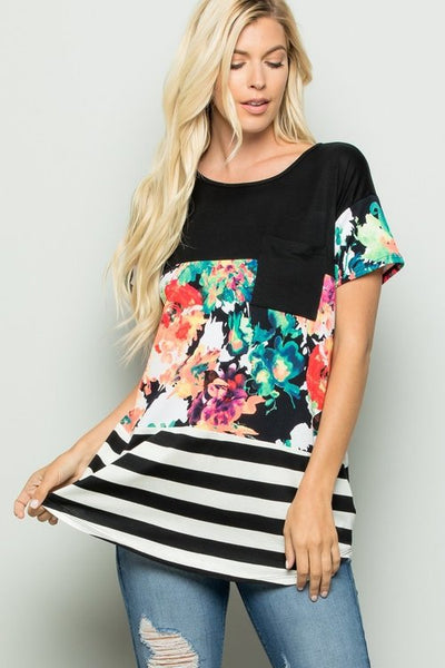Floral Color Block Top With Lace