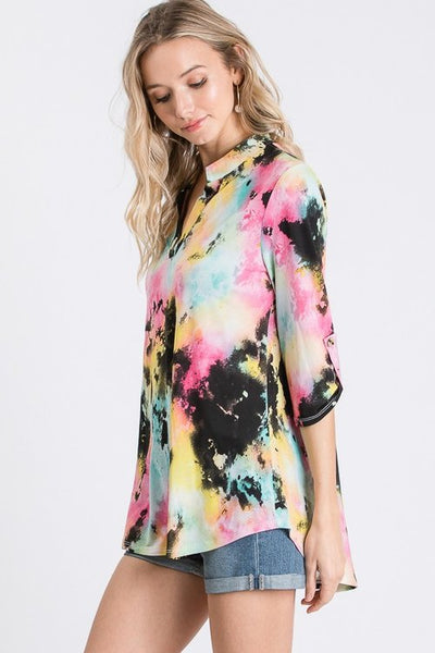 Mandarin Collar Tie Dye Top