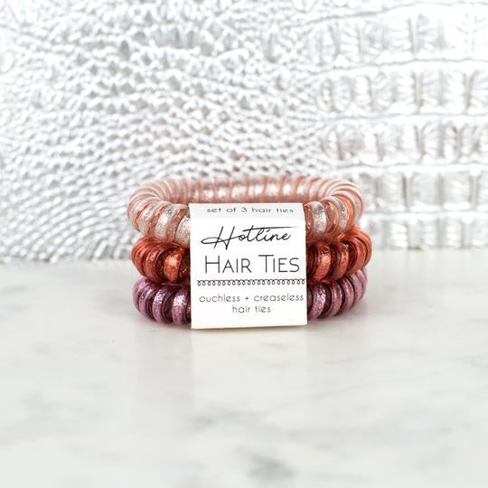 Hotline Hair Ties Dusty Rose Glitter Set