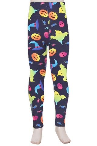 Neon Ghosts Halloween Leggings Kids