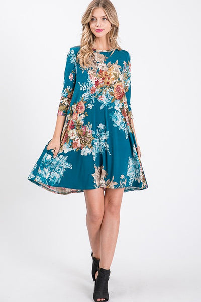 Floral Print Dress With Side Pockets