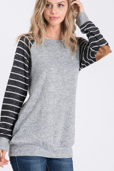 Solid & Stripe Sleeve Sweater