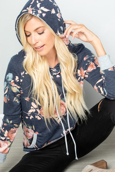 Floral Hooded Top with Kangaroo Pocket