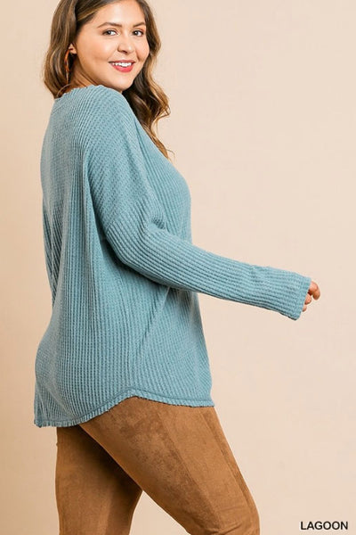 Fleece Waffle Knit Button Front Top