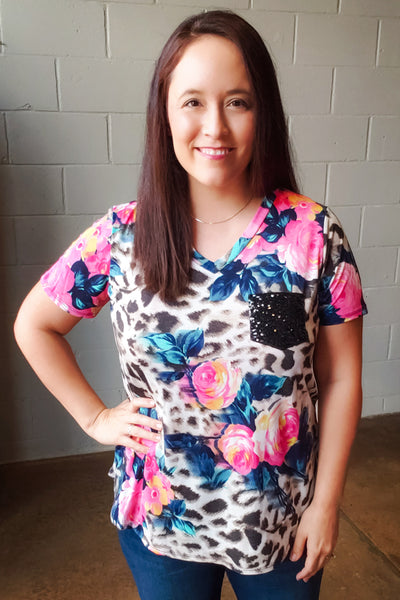 Leopard Floral Sequin Pocket Top