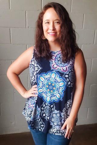 Navy Medallion Print Sleeveless Top