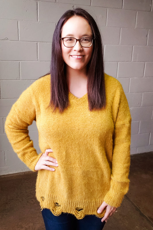 Mustard V-Neck Sweater with Distressed Hem