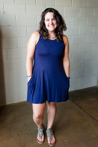 Navy Sleeveless Pocket Dress