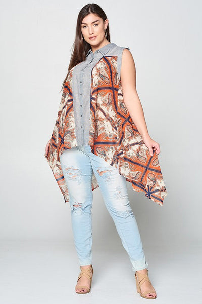 Paisley & Stripes Sleeveless Top