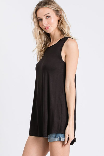 Solid Open Twist Back Sleeveless Top