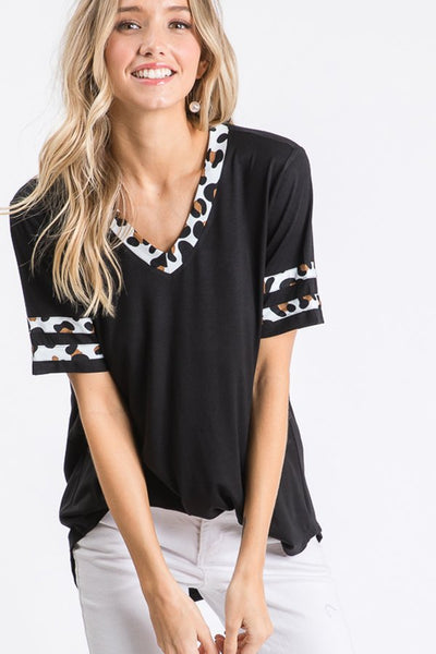 Animal Print Contrast Top