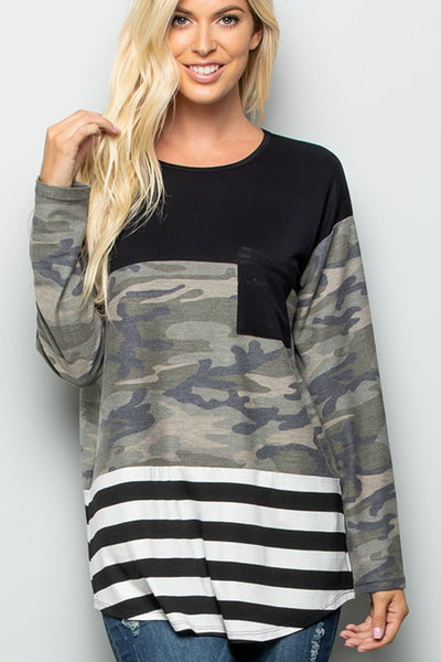 Camo Stripe Color Block Top