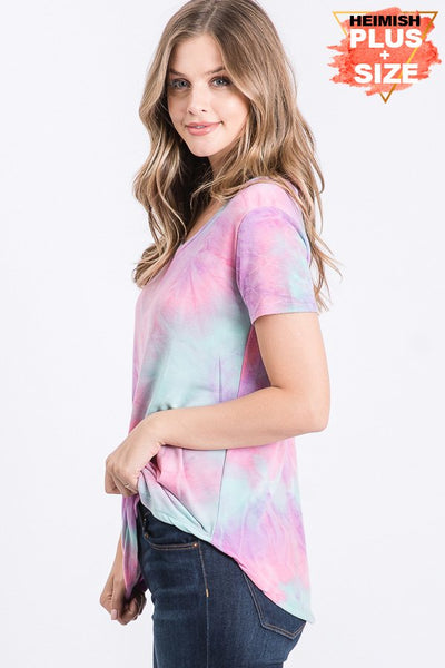Mint & Purple Tie Dye Top