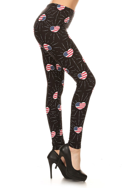 One Size Patriotic Hearts Leggings