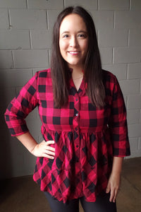 Crazy Train Penny Plaid Ruffle Top