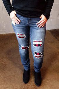 Judy Blue Red Plaid Patch Skinny Jean