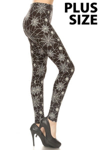 Plus Size Halloween Spider Web Leggings