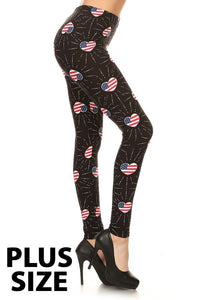 Plus Size Patriotic Hearts Leggings