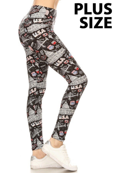 Plus Size USA Graphic Leggings