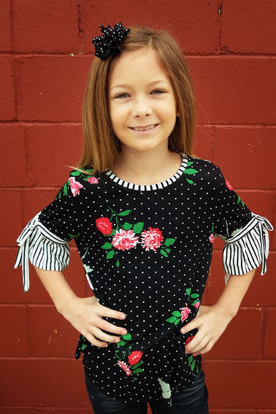 Kid's Mixed Print Flare Sleeve Top