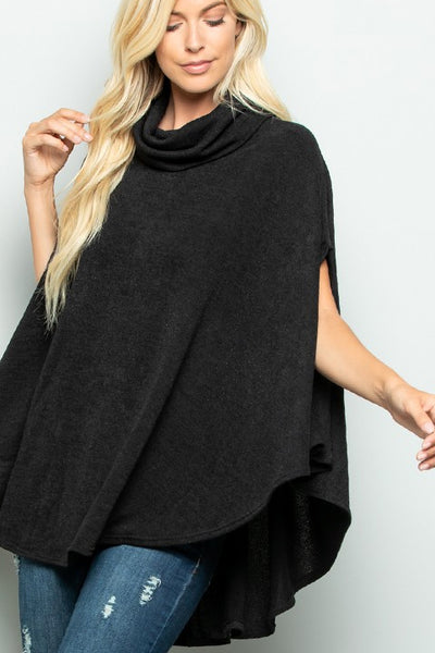 Half Sleeve Turtle Neck Poncho
