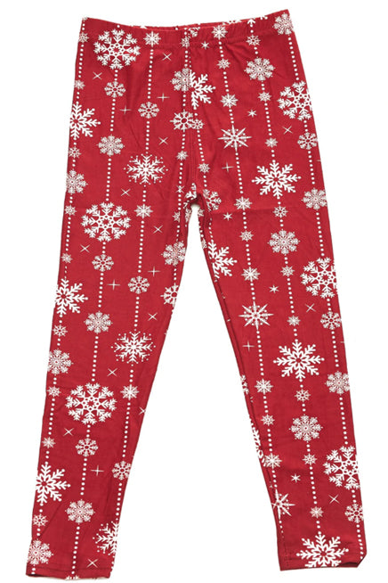 Radiant Red Snowfall Leggings Kids