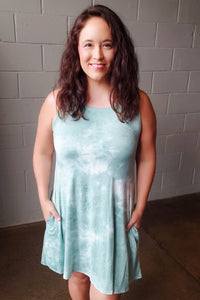 Sage Tie Dye Sleeveless Dress