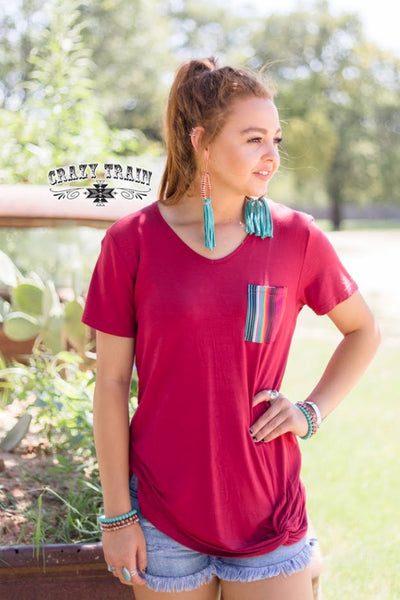 Crazy Train Sour Patch Pocket Knot Top