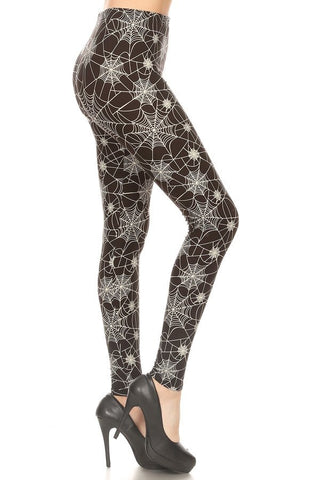 One Size Halloween Spider Web Leggings