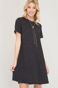 Charcoal Hacci Sweater Knit Dress