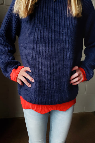 Kids Color Block Knit Sweater