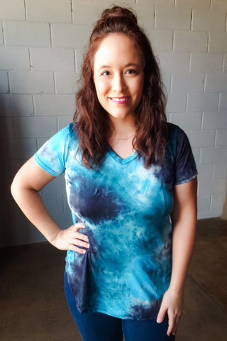 Teal Tie Dye V-Neck Top