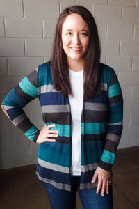 Teal Color Block Cardigan