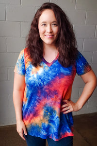 Blue & Orange Tie Dye Top