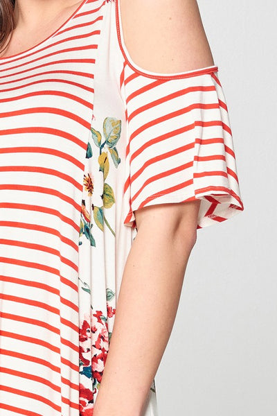 Stripes & Floral Cold Shoulder Top