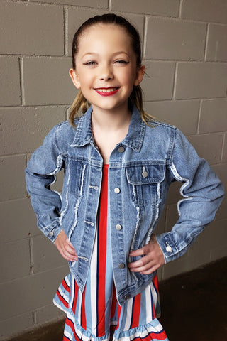 Kid's Frayed Denim Trucker Jacket