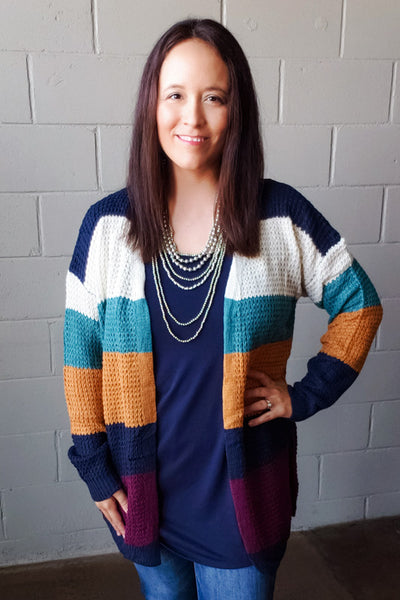 Color Block Knit Sweater Cardigan