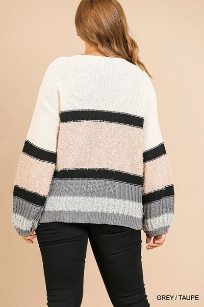 Multi-Knit Long Puff Sleeve Striped Pullover Sweater