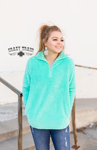 Crazy Train Turquoise Waffle Sherpa