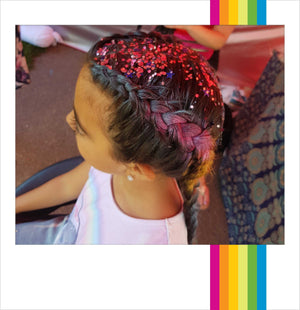 Colourful Festival Hair with glitter