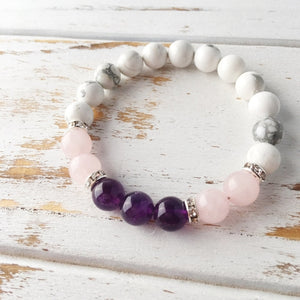 Rose Quartz, Amethyst and White Howlite Bracelet ~ Help to Release Anger - MyRoseLife
