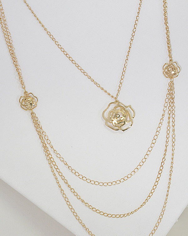 Multi-Strand Metallic Rose Pendant Necklace - MyRoseLife