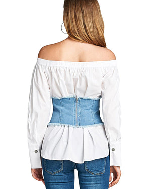 Rose applique denim corset - MyRoseLife