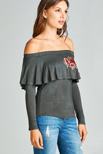 Ladies off-the-shoulder rose embroidery top - MyRoseLife