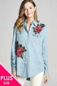 Plus size 3/4 roll up sleeve hidden buttons tunic chambray shirts w/rose patched - MyRoseLife