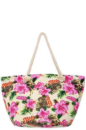 Oversized hibiscus palm leaf print tote bag - MyRoseLife
