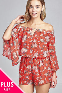 Ladies fashion plus size front keyhole off the shoulder long ruffle bell sleeve floral print crepe chiffon romper - MyRoseLife