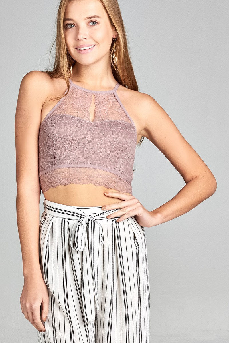 Ladies fashion heart neckline halter neck open back lace crop top - MyRoseLife