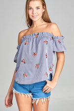 Ladies fashion short sleeve off the shoulder w/all over embo detail stripe woven top - MyRoseLife
